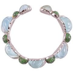 """Bon Bon"" Bracelet 13.10 Carat Aquamarine 6.43 Carat Tsavorite 2.64 Carat Dia"