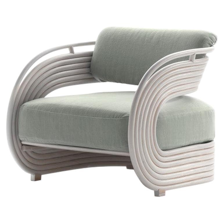 Bonacina 1889 Nastro Indoor Armchair Natural Rattan Upholstered, Joe Colombo For Sale