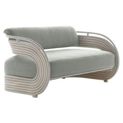 Bonacina 1889 Nastro Indoor Sofa Natural Rattan, Upholstered, Joe Colombo, 1964