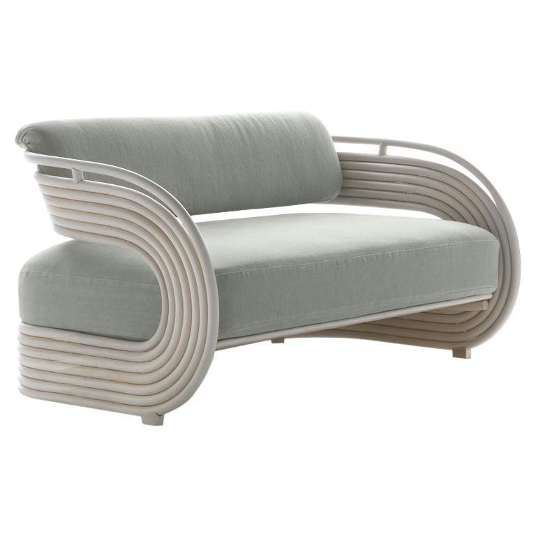 Bonacina 1889 Nastro Indoor Sofa Natural Rattan, Upholstered, Joe Colombo, 1964 For Sale