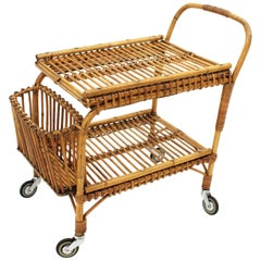 Bonacina Bamboo and Rattan Rolling Bar Cart