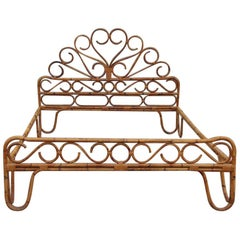 Bonacina Double Bed in Bamboo Italian Design 1950 Decorated Crown Brown