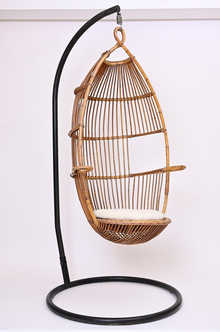 Italian Hanging Rattan Chair, circa 1960 For Sale