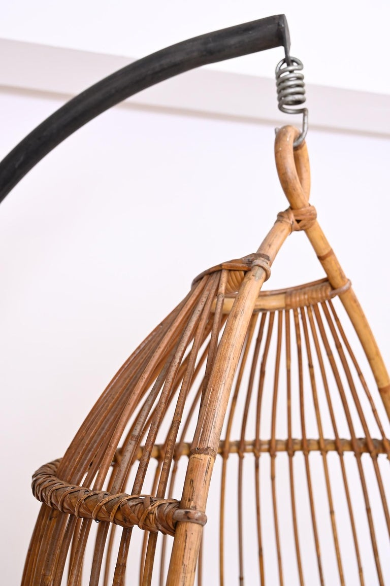 Mid-20th Century Hanging Rattan Chair, circa 1960 For Sale
