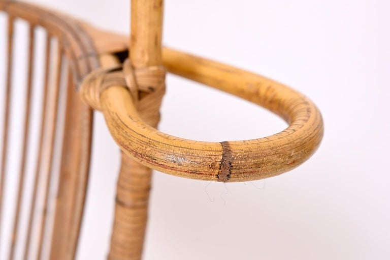 Steel Hanging Rattan Chair, circa 1960 For Sale