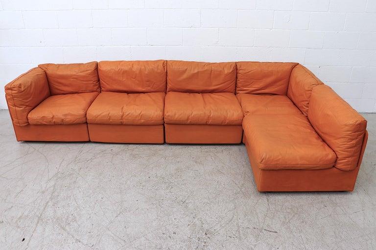 Bonacina Italian Orange Leather Sectional Sofa