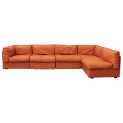 Bonacina Italian Orange Leather Sectional Sofa