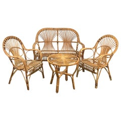 Bonacina Midcentury Italian Rattan and Bamboo Sofa, Armchairs and Coffee Table