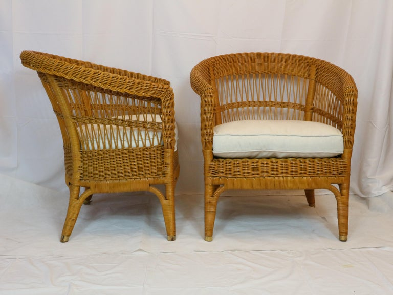 Bonacina Pair of Rattan Chairs, Designed Tito Agnoli, circa 1960s 2