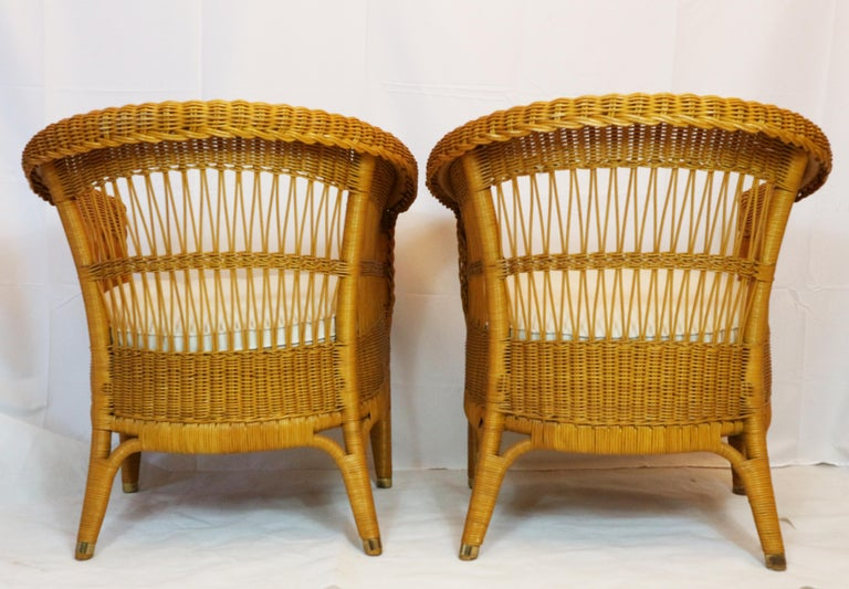 Bonacina Pair of Rattan Chairs, Designed Tito Agnoli, circa 1960s 3