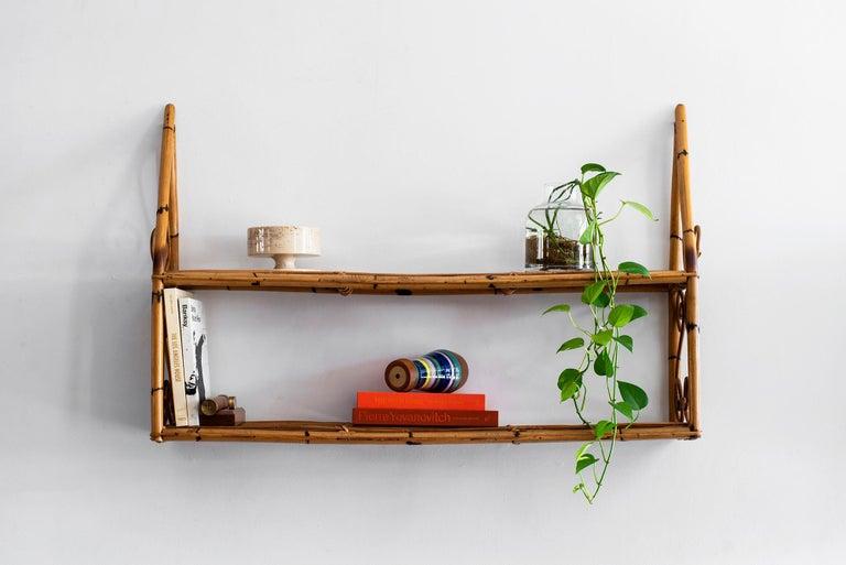 Italian Bonacina Rattan Shelf For Sale