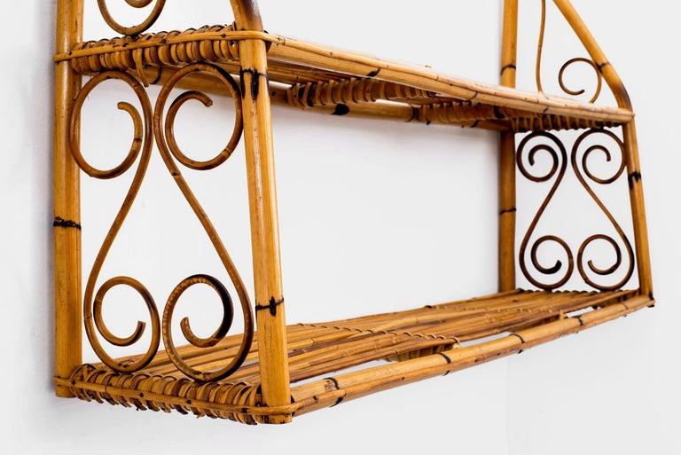 Mid-20th Century Bonacina Rattan Shelf For Sale