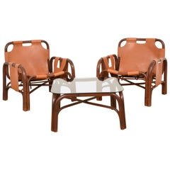 Bonacina Set of Two Italian Armchairs and Table Rattan and Leather, Italy, 1960s