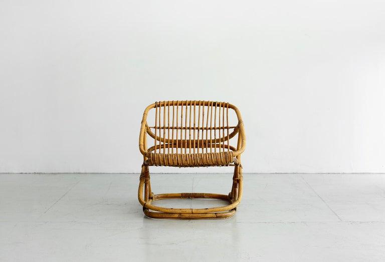 Mid-Century Modern Bonacina Square Rattan Chairs For Sale