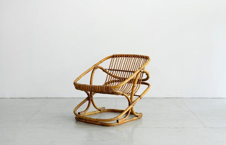 Italian Bonacina Square Rattan Chairs For Sale