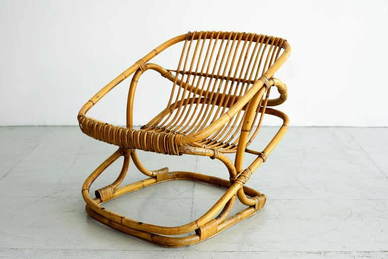 Bonacina Square Rattan Chairs In Good Condition For Sale In Los Angeles, CA