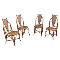 Chairs Bamboo Italian Design Straw Articulated Design Great Shape