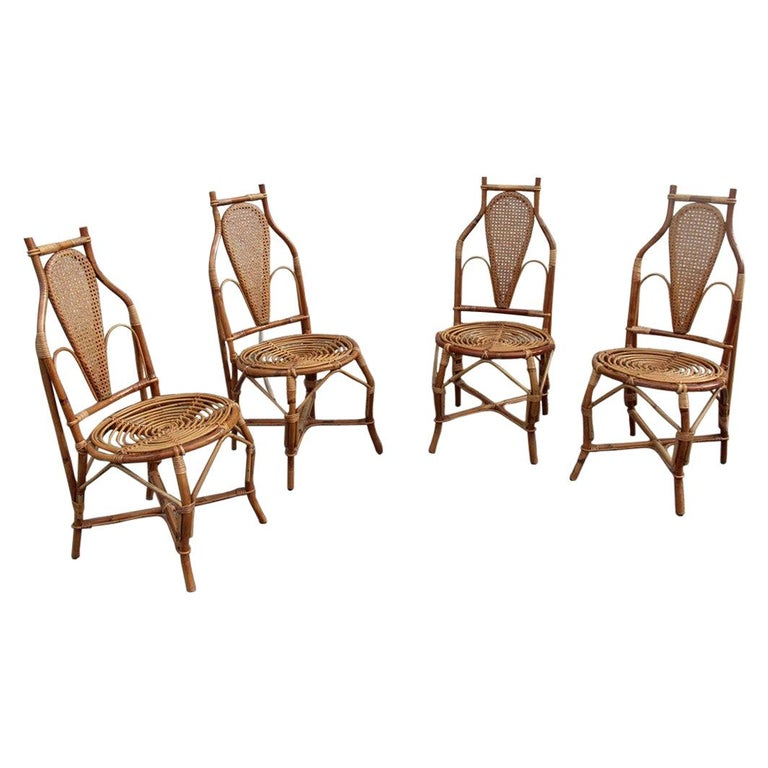 Bonacina Style Chairs Bamboo Italian Design Straw Articulated Design Great Shape For Sale