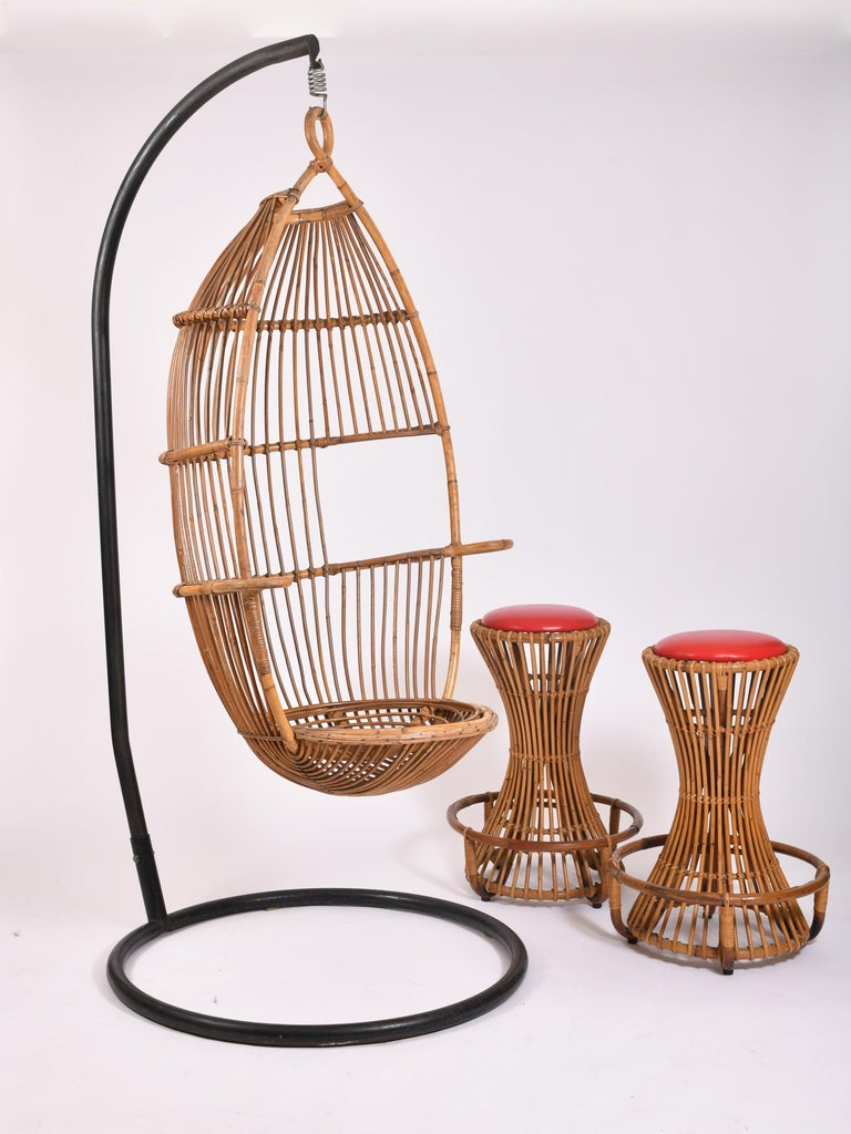 Bonacina rattan swing chair, circa 1960.