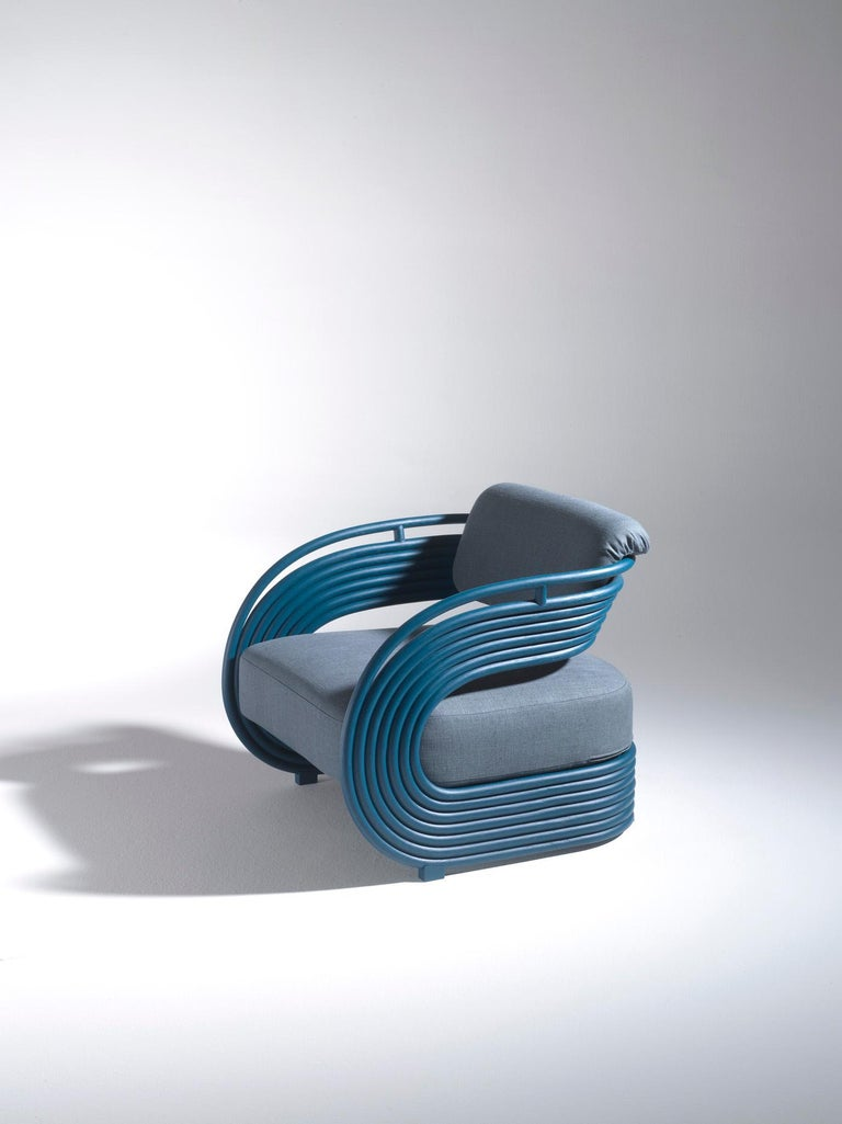 Design by Joe Colombo for Bonacina 1889, 1964. Plastic and sculptural shape, low seat, bold finish and colors make this piece emblematic of the 1960s design, a period that conceives furnishing objects as works of art, with which to give voice to