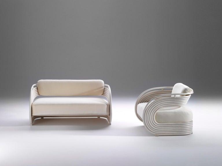 Modern Bonacina 1889 Nastro Indoor Armchair Natural Rattan Upholstered, Joe Colombo For Sale