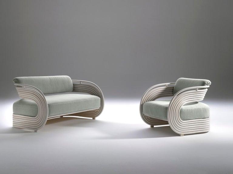Italian Bonacina 1889 Nastro Indoor Armchair Natural Rattan Upholstered, Joe Colombo For Sale