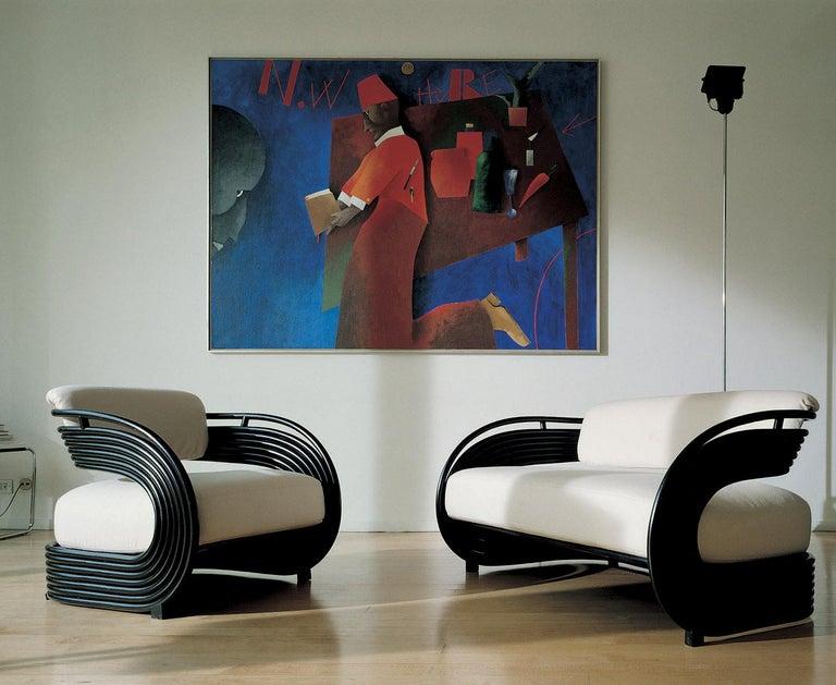 Hand-Crafted Bonacina 1889 Nastro Indoor Armchair Natural Rattan Upholstered, Joe Colombo For Sale