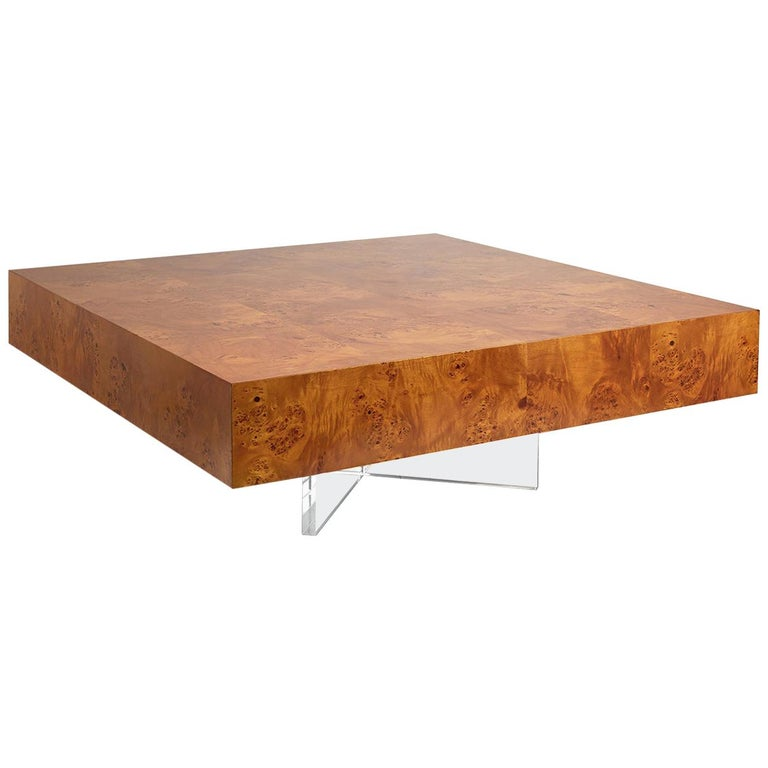 Bond Burled Wood and Lucite Cocktail Table For Sale