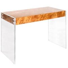 Bond Burled Wood and Lucite Desk
