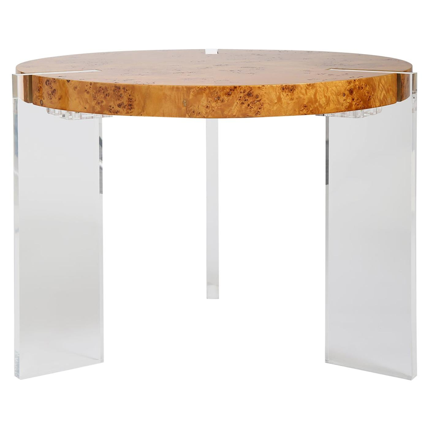 Bond Burled Wood and Lucite Occasional Table