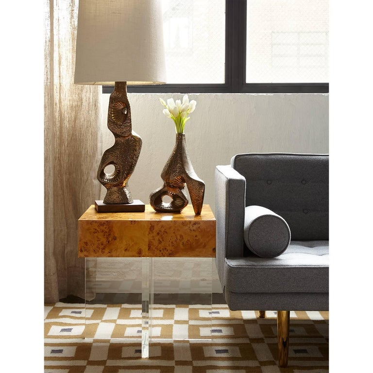 Bond Burled Wood End Table For Sale 1