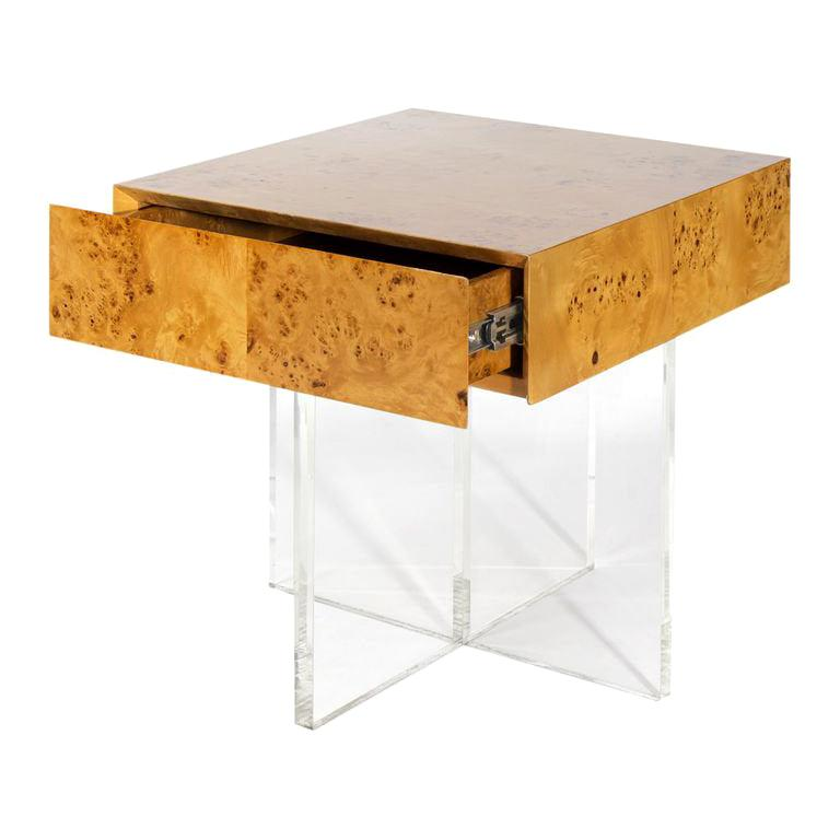 Bond Burled Wood End Table For Sale