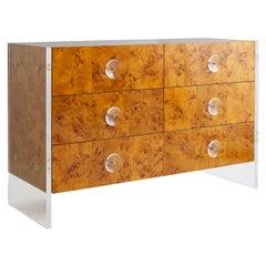 Bond Burled Wood Six-Drawer Dresser