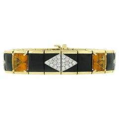 Bondanza 18K Gold Platinum 1.93ct Diamond Citrine Black Onyx Wide Link Bracelet