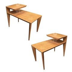 Blonde Mid Century Knife Leg Two-Tier Side Table Pair