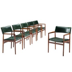 Bondo Gravesen Rosewood Armchairs in Original Green Leather