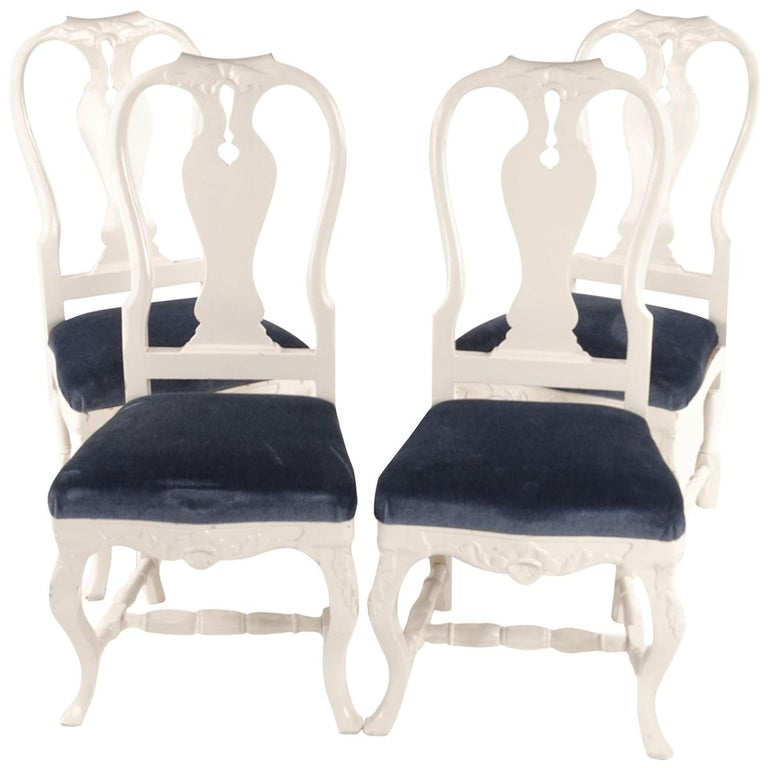 """""""Bondrokoko"""" Chairs from Early 1900s Sweden in Painted Birch For Sale"""
