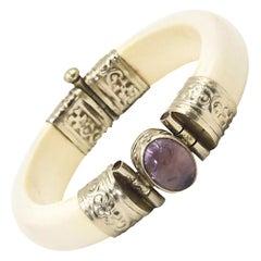 Bone and Amethyst Silver Plate Bangle Bracelet