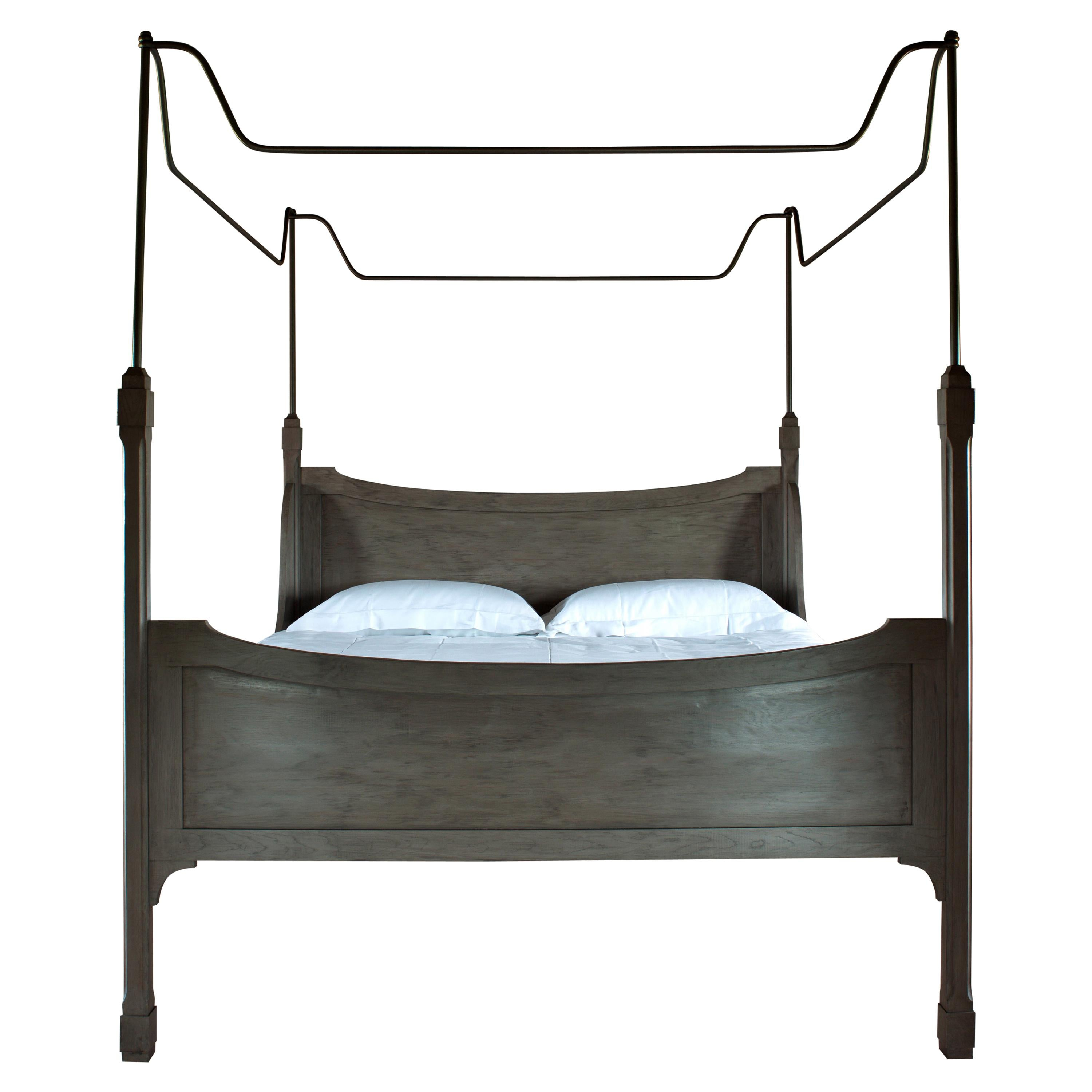 Bone Bed Grisaille Oak and Steel Superstructure New England Feel Canopy Bed