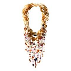 Bone Chain Multi Fringe 18 Karat Yellow Gold Rainbow Necklace