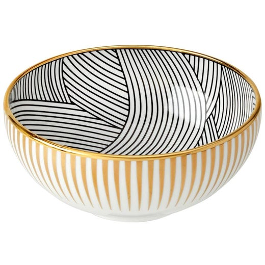 Bone China Cereal Bowl with 22-Carat Gold and Black Decals