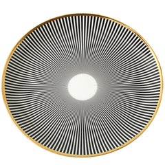 Bone China Dinner Plate with 22-Carat Gold and Black Decals