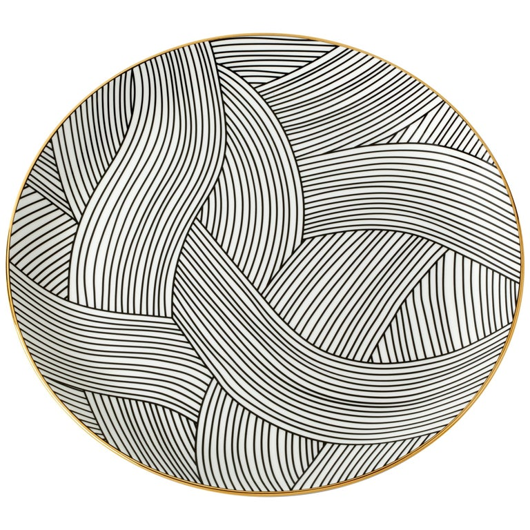 Bone China Dinner Plate with 22-Carat Gold and Black Decals Dhow Pattern For Sale