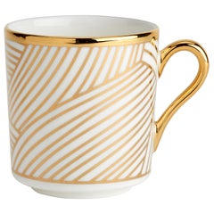 Bone China Espresso Cup with 22-Carat Gold and Black Decals