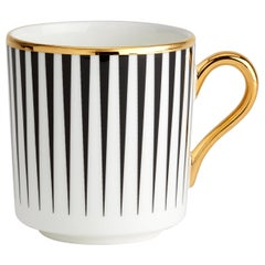 Bone China Espresso Cup w/ 22-carat Gold & Black Decals w/ Hand Gilded Details