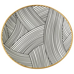 Bone China Salad Plate with 22-Carat Gold and Black Decals
