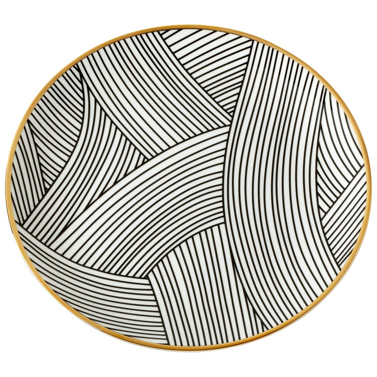 Bone China Salad Plate with 22-Carat Gold and Black Decals For Sale