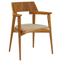 Bone Dining Chair/Desk Chair in Teak and Oatmeal Fabric