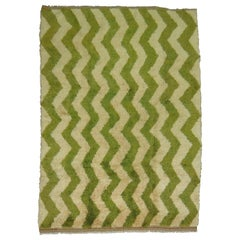 Bone Green Color Chevron Design 20th Century Turkish Wool Shag Rug