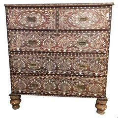 Bone-Inlaid Drawer Chest with Marble Top from India, 20th Century